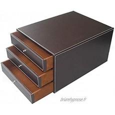 Module de rangement Classeurs 3 tiroirs de bureau de données Boîte de rangement de bureau en cuir Cabinet 25 * 33 * 17cm Mobilier de bureau Color : Brown